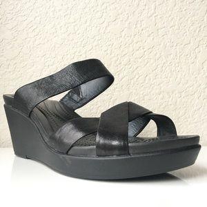 CROCS Dual Comfort WOMEN black wedge sandals heels